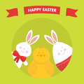 Cute Easter bunny, chicken and egg vector