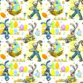Cute Easter bunny and eggs watercolor seamless pattern