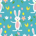 Cute Easter Bunny, Flowers and Chicken Seamless Pattern Print Background