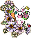 Cute Easter Bunny on Flowers