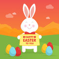 Cute Easter bunny in nature illustration.