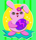 Cute Easter Bunny with a Purple Egg Royalty Free Stock Photos