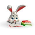 Cute easter bunny reading a book d rendered illustration of Stock Photo