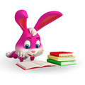 Cute easter bunny reading a book d rendered illustration of Stock Image