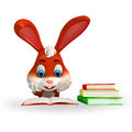 Cute easter bunny reading a book d rendered illustration of Royalty Free Stock Photos