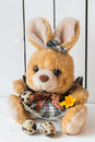 Cute Easter Bunny Stuffed Toy in a Dress with Quail Eggs and an Orange Crocus Flower Royalty Free Stock Photo
