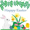 Cute Easter Bunny , yellow fluffy chicken , painted Easter eggs and bright spring flowers on white background