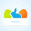 Cute easter card with blue bunny and two eggs Royalty Free Stock Photography