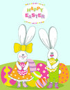 Cute easter card with two adorable bunny Royalty Free Stock Photos