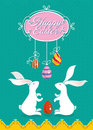 Cute easter card with two white bunnies and painted eggs Royalty Free Stock Images