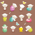 Cute easter character set Royalty Free Stock Image