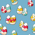 stock image of  Cute Easter eggs seamless pattern. Doodle Easter eggs background. Hand drawn doodle eggs for fabric and wrapping paper.