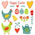 Cute easter elements set with eggs hens hearts a and flowers illustration spring design Royalty Free Stock Photos