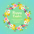 Cute easter floral with egg wreath Royalty Free Stock Photo