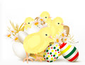 Cute Easter greeting card with chikens and eggs Royalty Free Stock Image