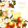 Cute easter greeting card eggs apples spring flowers Royalty Free Stock Photography