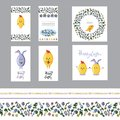 Cute easter greeting card set with motley eggs and seamless borders. Flat vector