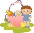 Cute Easter illustration with child Royalty Free Stock Photos