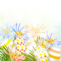 Cute easter outdoor background with clear space grass and eggs Stock Photos