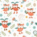 Cute easter owls pattern seamless Royalty Free Stock Photo