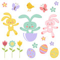 Cute easter related elements collection Stock Photos