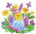 Cute easter scene little chick masked as bunny eggs butterflies flowers hand made traditional watercolor Stock Images