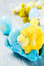 Cute easter sheep blue colorful eggs Royalty Free Stock Photos