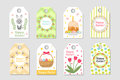 Cute Easter tags set. Labels collection with rabbit, eggs and flowers. Spring templates for your design. Vecto