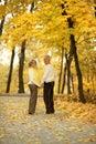 Cute elderly couple walking in autumn park Royalty Free Stock Photos