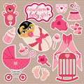 Cute elements for asian newborn baby girl a set of cartoon cartoon icons scrapbooking in strips background vector Royalty Free Stock Image