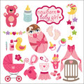 Cute elements for newborn baby girl a set of cartoon cartoon icons little vector illustration Royalty Free Stock Photography