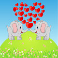 Cute elephant in love scalable vectorial image representing a on white Royalty Free Stock Photos