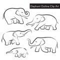 Cute Elephant Outline Clip Art vector set design