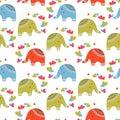 Cute elephants in love pattern