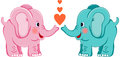 Cute elephants in love scalable vectorial image representing a isolated on white Stock Image