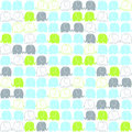 Cute elephants tileable pattern