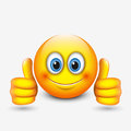 Cute emoticon with thumbs up, emoji - illustration