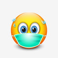 Cute emoticon wearing medical mask - emoji - vector illustration Royalty Free Stock Photo