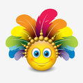 Cute emoticon on white background with carnival headdress motive - smiley - vector illustration