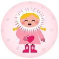 Cute Eskimo girl holding heart Royalty Free Stock Photography