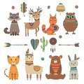 Cute ethnic animals. Tribal kid wild zoo bear owl raccoon tiger with feathers arrows and patterns vector design