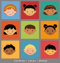 Cute faces children of different ethnicity Royalty Free Stock Photo
