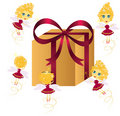 Cute fairies with gift Stock Images