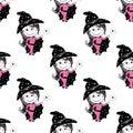 Cute fairies seamless pattern. Vector cartoon magic background,