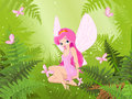 Cute fairy into magic forest Royalty Free Stock Photo