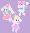 Cute fairy princess character with wings anime chibi Royalty Free Stock Photos