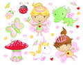 Cute Fairy Princess set Stock Photo