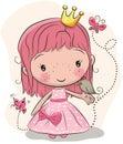 Cute fairy-tale Princess and a bird