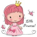 Cute fairy-tale Princess on a white background