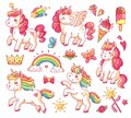 Cute flying baby rainbow unicorn with gold stars and sweet ice creams. Magic little pony fantasy unicorns cartoon vector